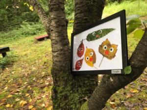 森の葉っぱでアート